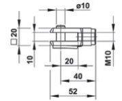 Widełki ze sworzniem - schemat mocowania do sprężyn gazowych